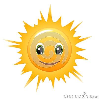 Smiley Sun. Vector icon