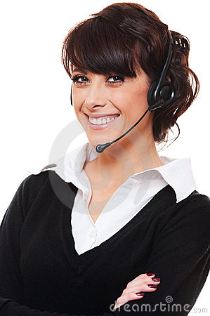 Smiley telephone operator over white background