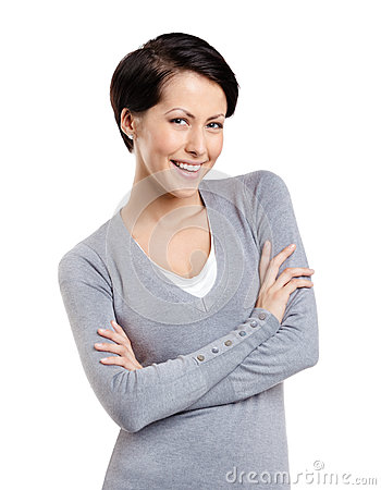 Smiley woman with crossed arms