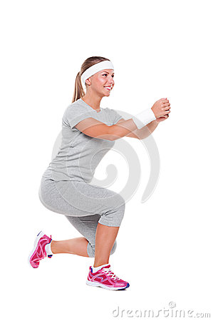 Smiley woman doing aerobics