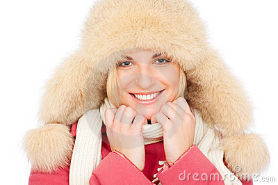 Smiley woman in fur hat