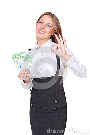 Smiley woman holding paper money