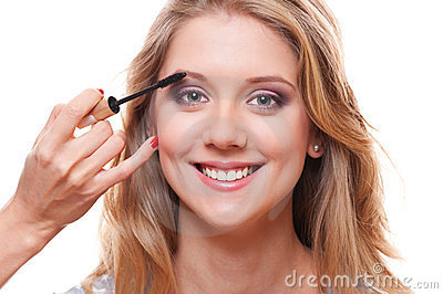 Smiley woman with professional make-up