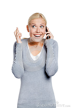 Smiley female speaking on phone
