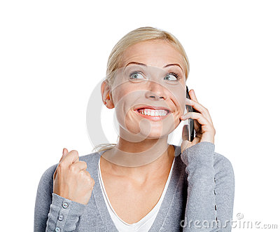 Smiley woman speaking on phone