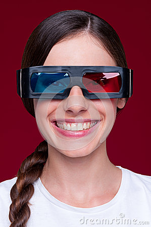 Smiley woman in stereo glasses