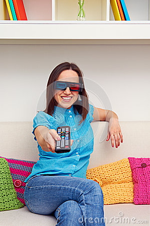 Smiley woman watching 3d film