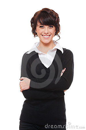 Smiley woman in white shirt and black pullover