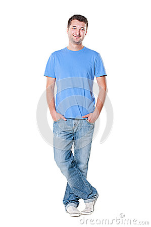 Smiley young man in blue t-shirt