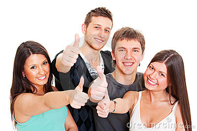 Smiley young people showing thumbs up