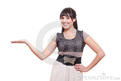 Smiley young woman holding something on her palm