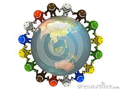 Smileys and globe