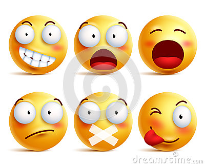Smileys vector set. Smiley face icons or emoticons with facial expressions Vector Illustration
