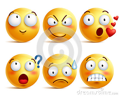 Smileys vector set. Yellow smiley face or emoticons with facial expressions Vector Illustration