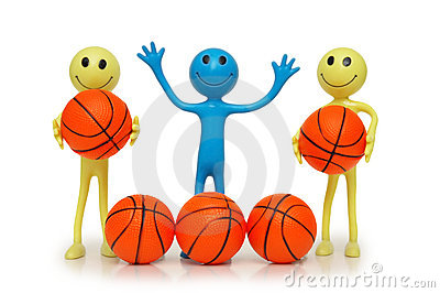 Smilies with basketballs