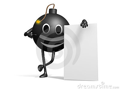 Smiling 3d bomb with a blank board