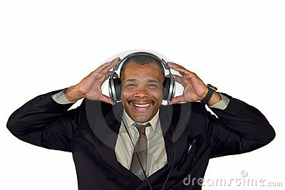 A smiling African-American man with headphones