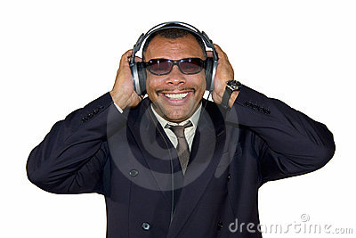 Smiling African-American man with headphones
