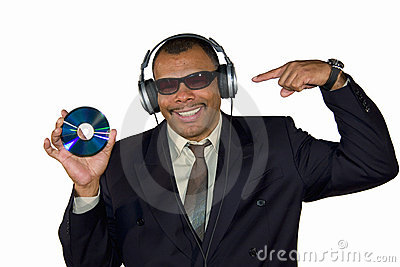 Smiling African-American pointing at compact disk