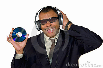 Smiling African-American showing a compact disk