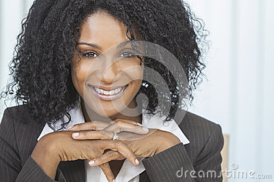 Smiling African American Woman Businesswoman