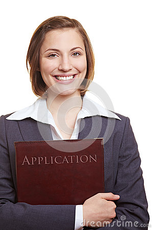 Smiling applicant with application