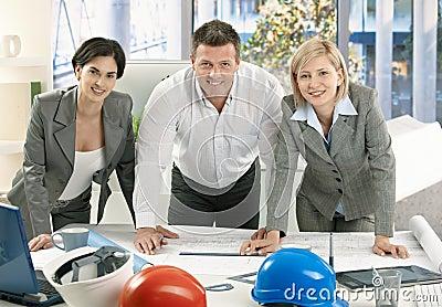 Smiling architect team