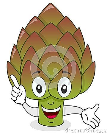 Smiling Artichoke Cartoon Character