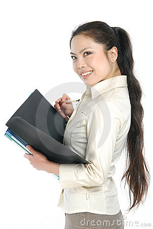 Smiling asian business women holding folder