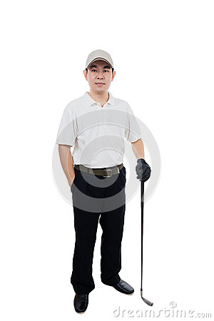 Free Smiling Asian Chinese Man Posing With Golf Club Royalty Free Stock Photography - 88322997