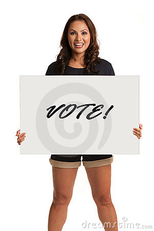 Smiling Asian Female Holding a Vote Sign Isolated