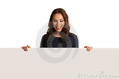Smiling Asian Female Pointing to a Blank Board