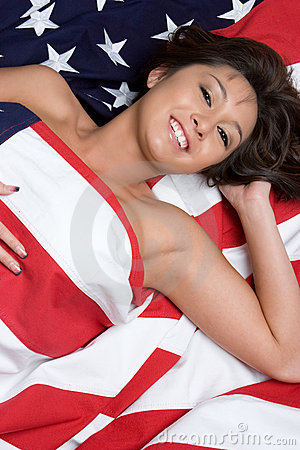 Smiling Asian Flag Woman