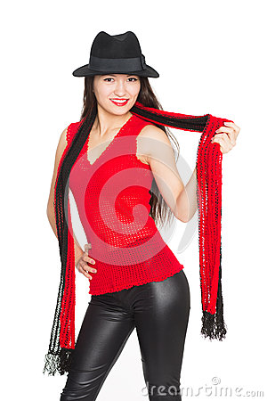 Free Smiling Asian Girl With A Red Scarf Stock Photography - 37010042