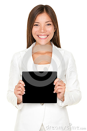 Smiling Asian woman with black card