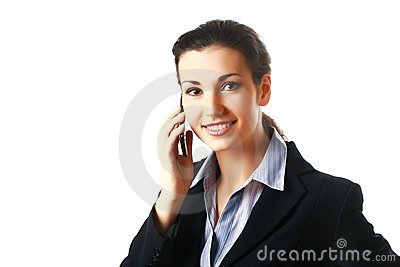 Smiling attractive business woman calling by phone