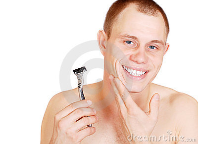 Smiling attractive young man after shave