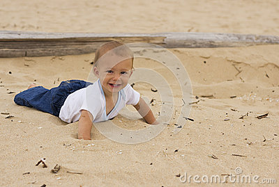 Smiling baby on the beach