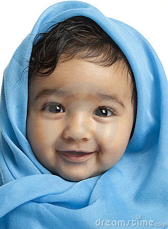 Smiling Baby Girl Draped in Blue Blanket