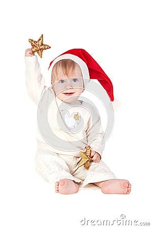 Smiling baby girl in Santa