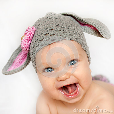 Free Smiling Baby Like A Bunny Or Lamb Stock Photography - 45176502