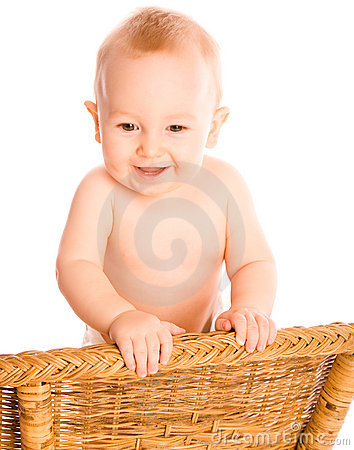 Smiling baby looks dawn
