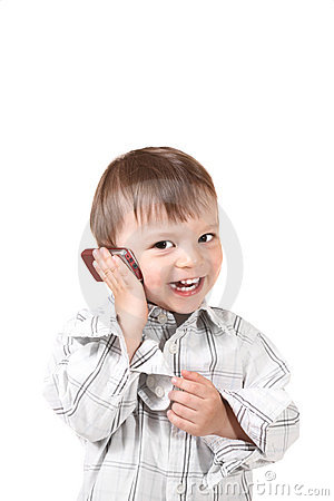 Smiling baby with mobile phone