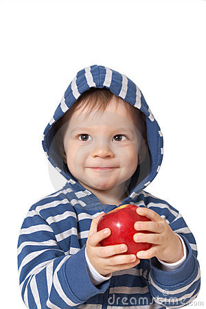 Smiling baby with red apple
