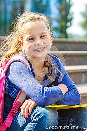 Smiling basic school student