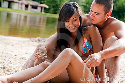 Smiling beach couple