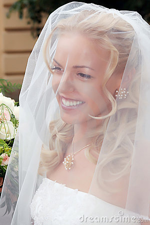 Smiling beautiful bride
