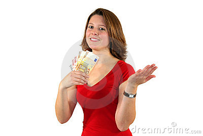 Smiling beautiful business woman with euro bills