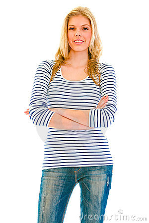 Smiling beautiful teen girl with crossed arms