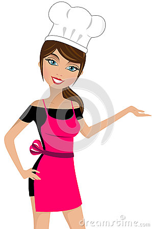 Free Smiling Beautiful Woman Chef Presenting Stock Photo - 35011200